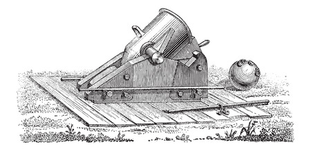 trajectory: Old Mortar, vintage engraved illustration. Dictionary of Words and Things - Larive and Fleury - 1895 Illustration