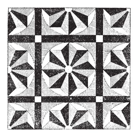 モザイク、繰り返しパターンやデザイン、ヴィンテージの刻まれた図を示します。辞書の言葉や物事 - Larive 氏 - 1895  イラスト・ベクター素材