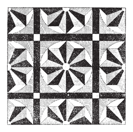 assemblage: Mosaic, showing repeating pattern or design, vintage engraved illustration. Dictionary of Words and Things - Larive and Fleury - 1895 Illustration