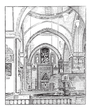 Yesil or Green Mosque, in Bursa, Turkey, showing interior view, vintage engraved illustration. Dictionary of Words and Things - Larive and Fleury - 1895