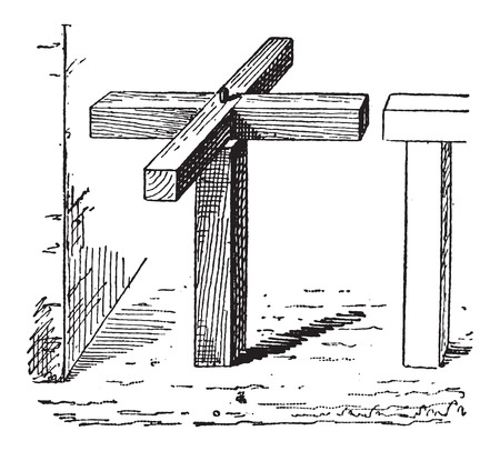 baffle: Turnstile, horizontal, vintage engraved illustration. Dictionary of Words and Things - Larive and Fleury - 1895