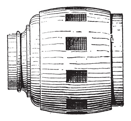 hub: Moyeu de roue, bois, vendange grav� illustration. Dictionnaire des mots et des choses - Larive et Fleury - 1895