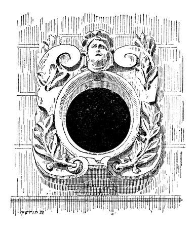 Bull's Eye, in de 16e eeuw, in de architectuur, vintage gegraveerde illustratie. Woordenboek van woorden en dingen - Larive en Fleury - 1895
