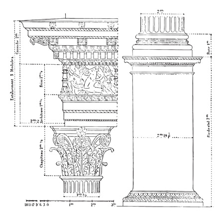 roman column: Corinthian order, vintage engraved illustration. Dictionary of words and things - Larive and Fleury - 1895.