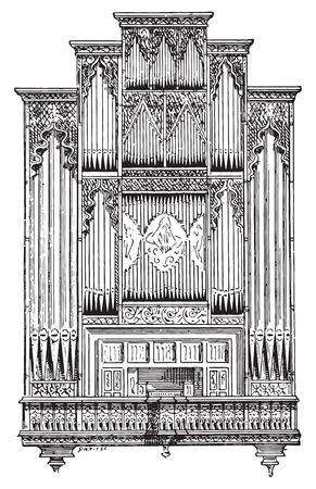 church interior: Organ of Perpignan Cathedral, vintage engraved illustration. Dictionary of words and things - Larive and Fleury - 1895.