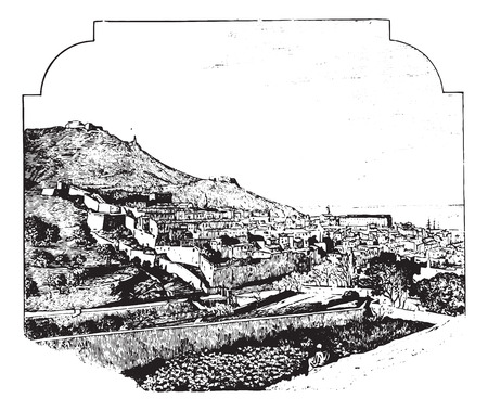 Oran, vintage engraved illustration. Dictionary of words and things - Larive and Fleury - 1895.