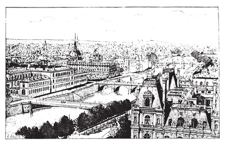 Bridges of Paris, vintage engraved illustration. Dictionary of words and things - Larive and Fleury - 1895.