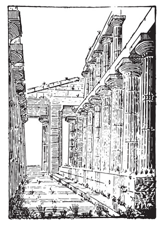 The Temple of Neptune or Temple of Hera II at Paestum, vintage engraved illustration. Dictionary of words and things - Larive and Fleury - 1895.