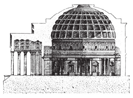 pantheon: Pantheon, vintage engraved illustration. Dictionary of words and things - Larive and Fleury - 1895.