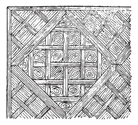 Abteile: Parkett in F�cher, Jahrgang gravierte Darstellung. W�rterbuch der W�rter und Dinge - Larive und Fleury - 1895.