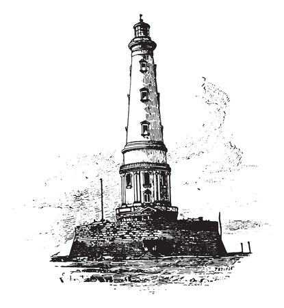 lighthouse: Lighthouse of Cordouan, vintage engraved illustration. Dictionary of words and things - Larive and Fleury - 1895.