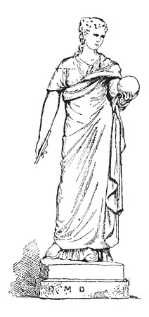 Statue of Urania, Muse of Astronomy, at the Vatican Museum, in Vatican City, vintage engraved illustration. Dictionary of Words and Things - Larive and Fleury - 1895 Çizim