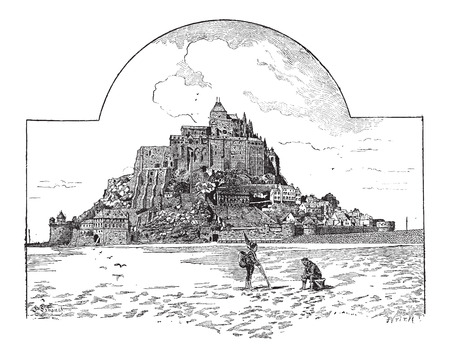 heritage site: Saint Michaels Mount, in Normandy, France, vintage engraved illustration. Dictionary of Words and Things - Larive and Fleury - 1895