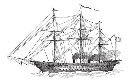 The Napoleon, a 90-Gun French Battleship, Steam-Powered, in 1852, vintage engraved illustration. Dictionary of Words and Things - Larive and Fleury - 1895