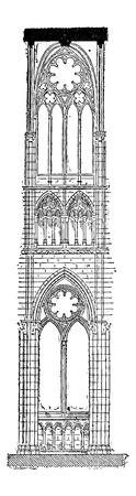 아미 앵, 프랑스, 빈티지 새겨진 그림의 아미 앵 성당의 본당입니다. Larive 및 플 뢰리 - - 1,895 단어와 사물의 사전