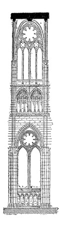 unesco: Nave of the Amiens Cathedral in Amiens, France, vintage engraved illustration. Dictionary of Words and Things - Larive and Fleury - 1895