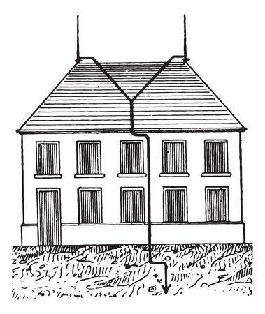Lightning protected building, vintage engraved illustration. Dictionary of words and things - Larive and Fleury- 1895. Illustration