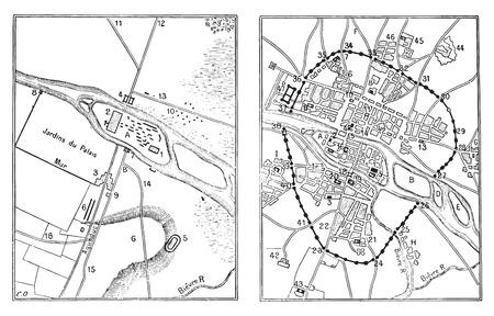 Carte de Paris gallo-romaine, illustration vintage gravé. Dictionnaire des mots et des choses - Larive et Fleury - 1895. Banque d'images - 35364127