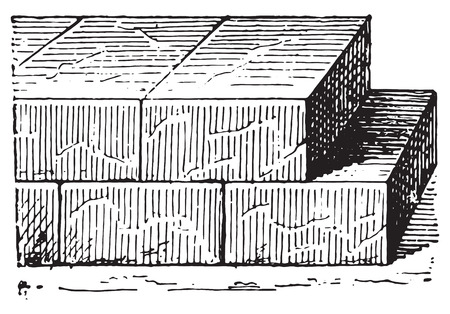 Cinder block, vintage engraved illustration. Dictionary of words and things - Larive and Fleury - 1895.