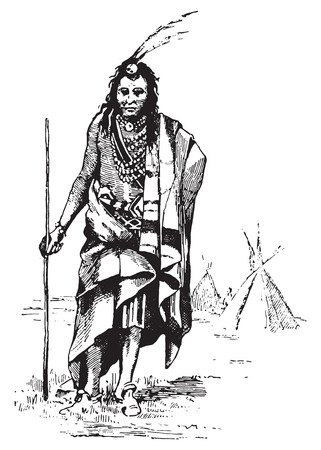 Red Indian, vintage engraved illustration. Dictionary of words and things - Larive and Fleury - 1895.