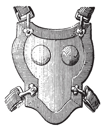 Breastplate armor, vintage engraved illustration. Dictionary of words and things - Larive and Fleury - 1895. Illustration