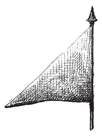 Pennant, vintage engraved illustration. Dictionary of words and things - Larive and Fleury - 1895.
