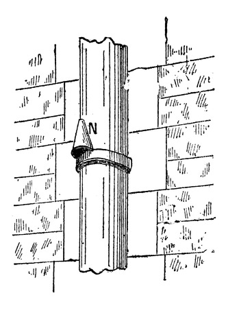 seepage: Downspout Nose, vintage engraved illustration. Dictionary of Words and Things - Larive and Fleury - 1895 Illustration