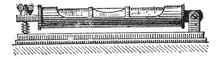 spirit level: Spirit or Bubble Level, tubular, vintage engraved illustration. Dictionary of Words and Things - Larive and Fleury - 1895 Illustration