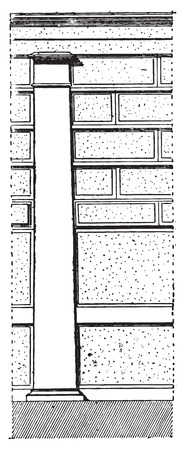 Pilaster at Pompeii, vintage engraved illustration. Dictionary of words and things - Larive and Fleury - 1895. Illustration