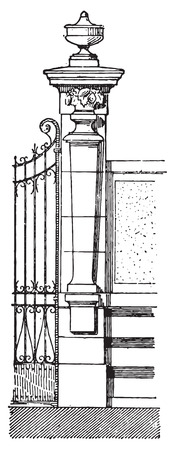 pilaster: Pilaster, vintage engraved illustration. Dictionary of words and things - Larive and Fleury - 1895.