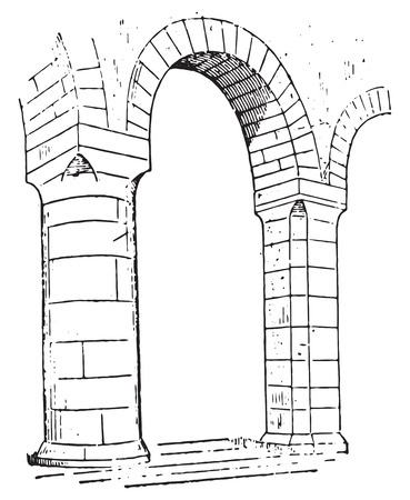 Pillar of Church of lons-le-Saunier, vintage engraved illustration. Dictionary of words and things - Larive and Fleury - 1895.