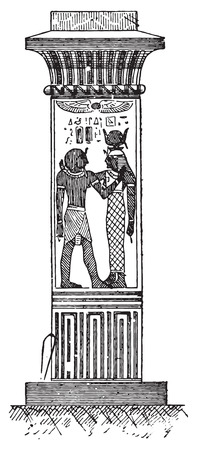 representations: Egyptian pillar, vintage engraved illustration. Dictionary of words and things - Larive and Fleury - 1895.