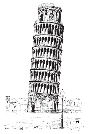Leaning tower of Pisa or Tower of Pisa, vintage engraved illustration. Dictionary of words and things - Larive and Fleury - 1895. Çizim