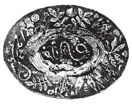 earthenware: Plato. ilustraci�n, grabado de �poca. Diccionario de palabras y las cosas - Larive y Fleury - 1895.