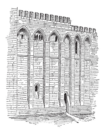 avignon: Papal Palace, in Avignon, France, showing outer wall, vintage engraved illustration. Dictionary of Words and Things - Larive and Fleury - 1895