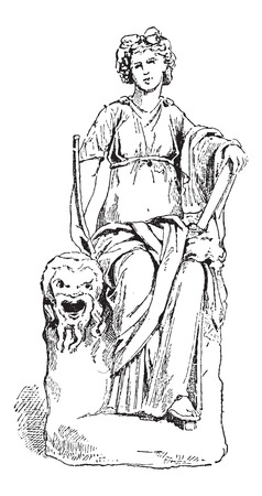 verdant: Statue of Thalia, Muse of Comedy, at the Vatican Museum, in Vatican City, vintage engraved illustration. Dictionary of Words and Things - Larive and Fleury - 1895 Illustration