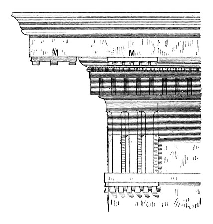 doric: Mutule, in Architecture, vintage engraved illustration. Dictionary of Words and Things - Larive and Fleury - 1895