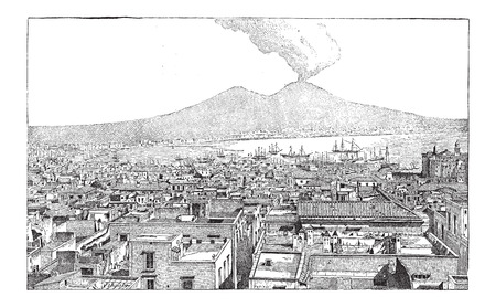 City of Naples, in Campania, Italy, vintage engraved illustration. Dictionary of Words and Things - Larive and Fleury - 1895 Vectores