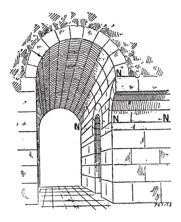 impost: Birth, in Architecture, vintage engraved illustration. Dictionary of Words and Things - Larive and Fleury - 1895 Illustration