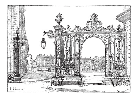 ironwork: Place Stanislas, in Nancy, Lorraine, France, showing grill ironwork gate, vintage engraved illustration. Dictionary of Words and Things - Larive and Fleury - 1895