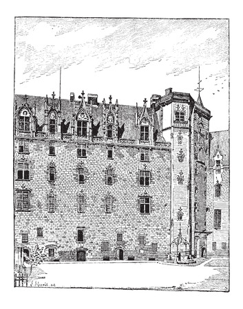 brittany: Castle of the Dukes of Brittany, Nantes, Pays de la Loire, France, showing view from the courtyard, showing traditional house, vintage engraved illustration. Dictionary of Words and Things - Larive and Fleury - 1895