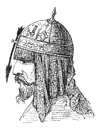 protruding: Nasal Helmet, showing Arrow-shaped Nose Protector, vintage engraved illustration. Dictionary of Words and Things - Larive and Fleury - 1895