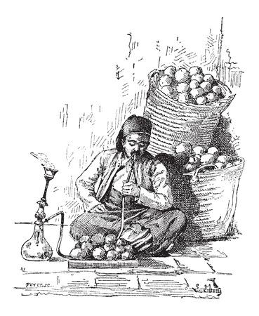 물 담 뱃 대, 물 담 뱃 대 담배 남자 흡연입니다. 단어와 사물 사전 - Larive and Fleury - 1895