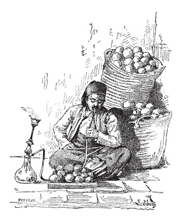 Hookah, shown is a man smoking a hookah, vintage engraved illustration. Dictionary of Words and Things - Larive and Fleury - 1895