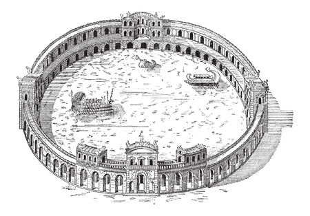 trireme: Naumachia, built by the Domitian Orders near the Tiber River, vintage engraved illustration. Dictionary of Words and Things - Larive and Fleury - 1895