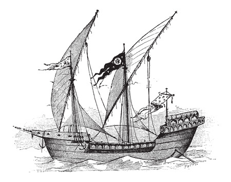 louis: Saint Louis, French Ship, during the 13th Century, vintage engraved illustration. Dictionary of Words and Things - Larive and Fleury - 1895 Illustration