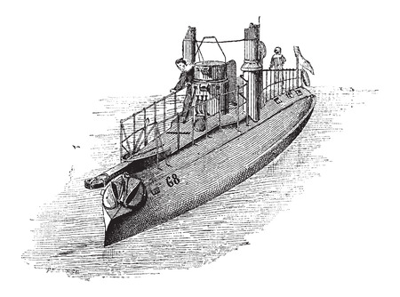 warhead: French Torpedo Boat, Number 63, in 1884, vintage engraved illustration. Dictionary of Words and Things - Larive and Fleury - 1895 Illustration