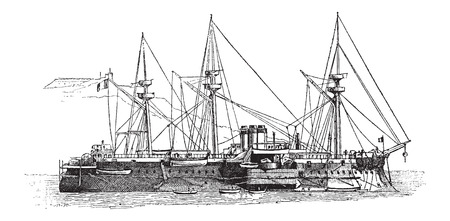 The Courbet, French Iron-clad Battleship, in 1882, vintage engraved illustration. Dictionary of Words and Things - Larive and Fleury - 1895