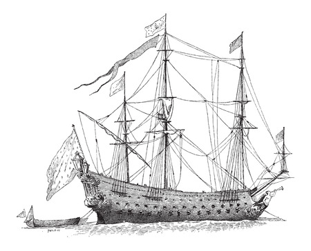 17th: The Soleil-Royal, French Ship, during the 17th Century, vintage engraved illustration. Dictionary of Words and Things - Larive and Fleury - 1895