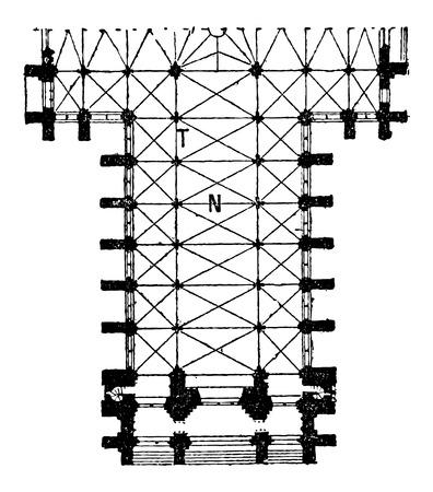 아미 앵, 프랑스, 13 세기, 빈티지 새겨진 된 그림에서에서 아미 앵 성당의 본당의 평면. 단어와 사물 사전 - Larive and Fleury - 1895